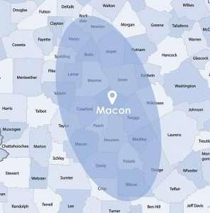 blue macon map